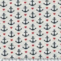 Jersey ancres et coeur 20 x 140 cm