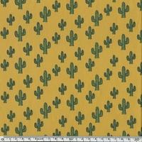 Popeline cactus fond moutarde 20 x 140 cm