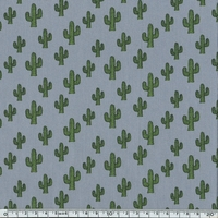 Popeline Cactus fond gris 20 x 140 cm