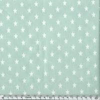 Toile enduite étoiles blanches fond menthe 20 x 140 cm