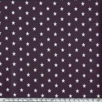Toile enduite étoiles blanches fond prune 20 x 140 cm