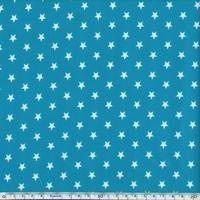 Toile enduite étoiles blanches fond lagon 20 x 140 cm