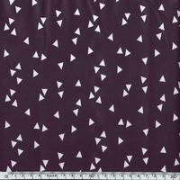 Toile enduite triangles fond prune 20 x 140 cm