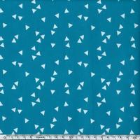 DERNIER COUPON Toile enduite triangles fond lagon 50 x 140 cm