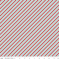 Tissu Pixie Noël rayures sucre d'orge 20 x 110 cm