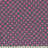 Tissu Dumb Dot rose fluo fond gris 20 x 110 cm
