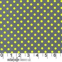 Tissu Dumb Dot jaune fluo fond gris coloris Luna 20 x 110 cm