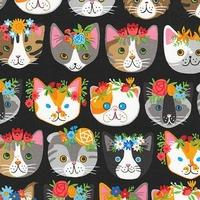 Tissu Chat Frida fond noir 20 x 110 cm