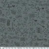 Tatouée pour la journée, jersey coton spandex gris chiné, 20 x 140 cm