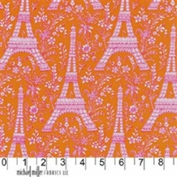 Tissu Tour Eiffel orange 20 x 110 cm