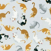 Tissu Wiskers and Tails chats coquins 20 x 110 cm