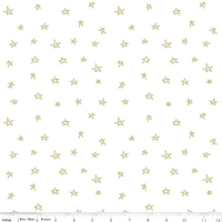 Tissu When skies are grey - étoiles dorées fond blanc 20 x 110 cm