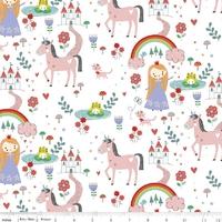 Tissu Princess dreams - princesses et licornes fond blanc x 110 cm