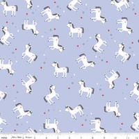 Tissu Princess dreams - licornes fond violet 20 x 110 cm