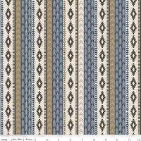 Tissu High adventure - frise ikat bleu et crème 20 x 110 cm