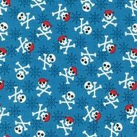 Tissu Fabulous Foxes - pirates fond bleu