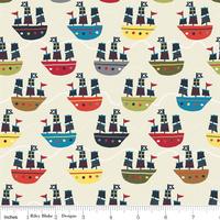 Tissu Treasure Map bateaux fond crème 20 x 110 cm