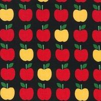 Tissu Back to school - pommes fond noir 20 x 110 cm