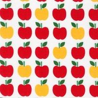 Tissu Back to school - pommes fond blanc 20 x 110 cm