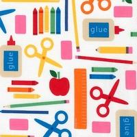 Tissu Back to school - Vive l'école fond blanc 20 x 110 cm