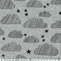 Jersey nuages et étoiles fond gris chiné 20 x 140 cm