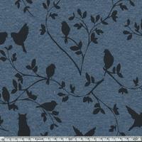 Tissu Molleton envers minkee chats et oiseaux bleu chiné  20 x 150 cm