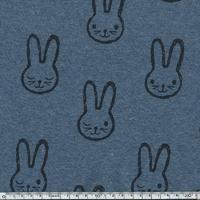 Tissu Molleton Lapin envers minky fond bleu chiné 20 x 150 cm