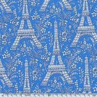 Tissu Tour Eiffel fond bleu 20 x 110 cm
