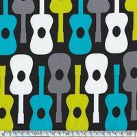 Tissu Groovy Guitar Lagoon 20 x 110 cm