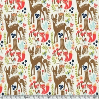 Tissu Woodland Spring - Animaux de la forêt fond crème 20 x 110 cm