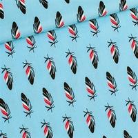 Tissu ENDUIT  Tickling Toes fond bleu 20 x 130 cm