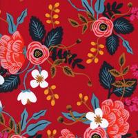 Viscose Rifle Paper Les Fleurs Birch floral rouge 20 x 110 cm