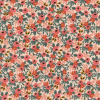 Tissu Rifle Paper Les Fleurs Rosa floral coloris pêche 20 x 110 cm
