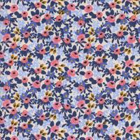 Tissu Rifle Paper Les Fleurs Rosa floral coloris bleu 20 x 110 cm