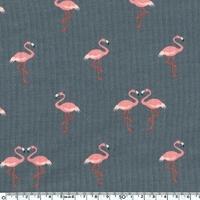 Jersey Flamingos fond gris 20 x 140 cm