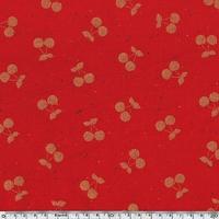 DERNIER COUPON Cherries gold, sweat moucheté coloris rouge 40 x 140 cm