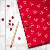 DERNIER COUPON Cherries gold, sweat moucheté coloris rouge 100 x 140 cm