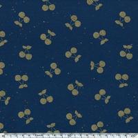 DERNIER COUPON Cherries gold, sweat moucheté coloris marine 100 x 140 cm