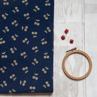 Cherries gold, sweat moucheté coloris marine 20 x 140 cm