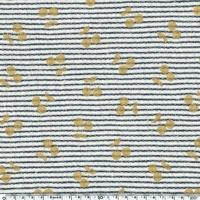 DERNIER COUPON Cherries gold, sweat mini marinière coloris marine foncé 100 x 140 cm