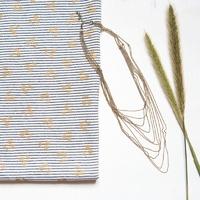 Cherries gold, sweat mini marinière coloris marine foncé 20 x 140 cm