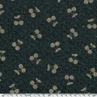 DERNIER COUPON Cherries gold, jersey matelassé coloris gris chiné 55 x 140 cm