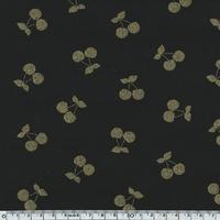 DERNIER COUPON Cherries gold, jersey coton spandex coloris noir 100 x 140 cm