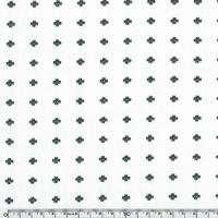 Jersey petites croix fond blanc 20 x 140 cm
