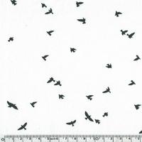 Jersey envol d'oiseaux fond blanc cassé 20 x 140 cm
