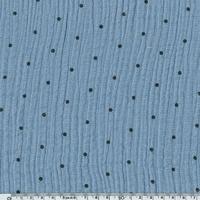 Tissu double gaze de coton à pois coloris bleu clair 20 x 140 cm