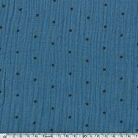 Tissu double gaze de coton à pois coloris ardoise 20 x 140 cm