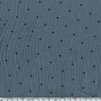 Tissu double gaze de coton à pois coloris gris 20 x 140 cm