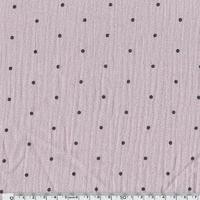 Tissu double gaze de coton à pois coloris lilas 20 x 140 cm