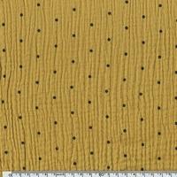 Tissu double gaze de coton à pois coloris moutarde 20 x 140 cm